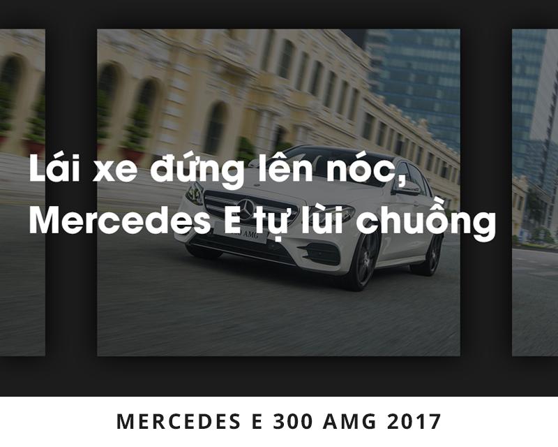 Lái xe đứng lên nóc, Mercedes E tự lùi chuồng