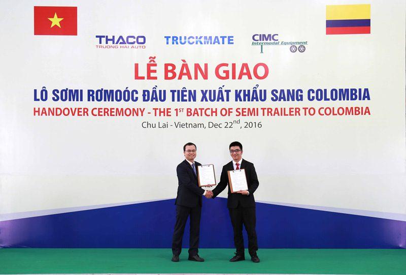 Thaco bàn giao lô sơ mi rơmoóc đầu tiên sang Colombia