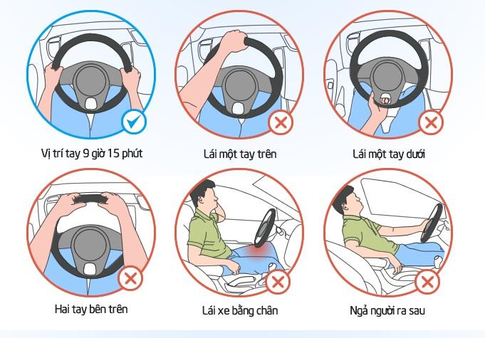 Cách cầm vô-lăng đúng cho người Việt