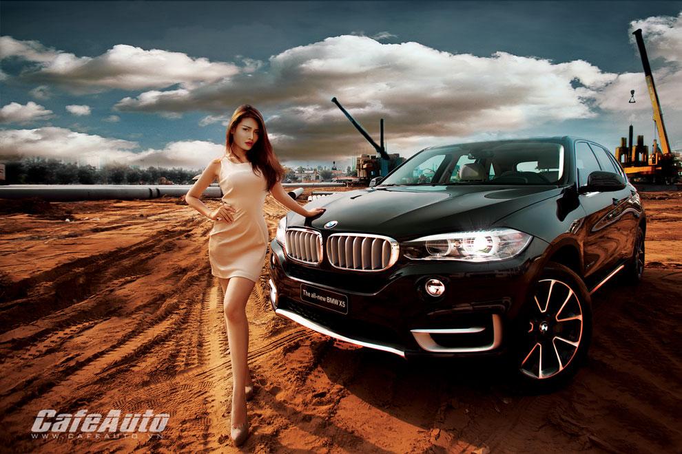 Chân dài khoe dáng bên BMW X5 2014