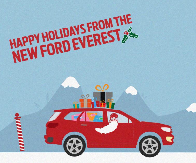 Ford Everest mới thách thức xe tuần lộc của Ông già Noel