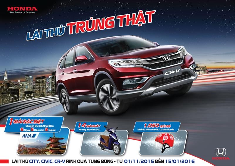 """Honda Việt Nam tổ chức chương trình """"Lái thử, trúng thật"""" trên toàn quốc"""