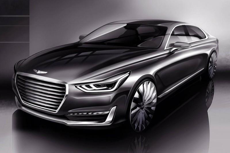 Hé lộ hình ảnh đầu tiên sedan hạng sang Genesis G90